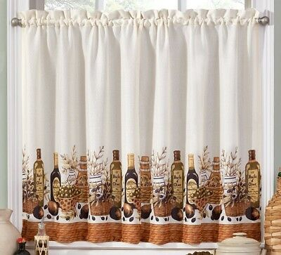 Tuscany Olive Oil Kitchen Curtains Tier And Valance Set Inside Solid Microfiber 3 Piece Kitchen Curtain Valance And Tiers Sets (View 9 of 25)