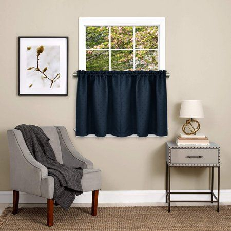 Featured Image of Class Blue Cotton Blend Macrame Trimmed Decorative Window Curtains
