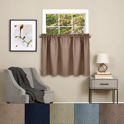 """Twilight Room Darkening Energy Saving Kitchen Curtain Tier Pair 36""""x52"""" 