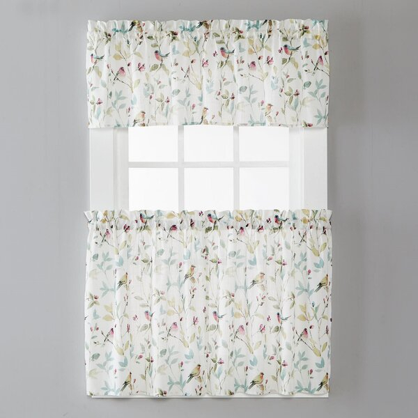 Two Tier Kitchen | Wayfair With Floral Watercolor Semi Sheer Rod Pocket Kitchen Curtain Valance And Tiers Sets (View 23 of 25)
