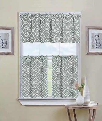 Ultra Luxurious Grey Shabby 3 Piece Kitchen Curtain Tier For Geometric Print Microfiber 3 Piece Kitchen Curtain Valance And Tiers Sets (View 2 of 25)