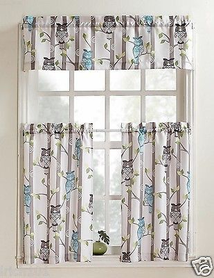 Unique Multi Colored 3 Piece Owl Printed Kitchen Curtain Set In Kitchen Curtain Tiers (View 13 of 25)