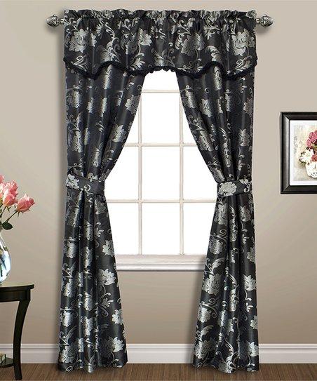 United Curtain Black Floral Carrington Five Piece Curtain Panel Set Regarding Grandin Curtain Valances In Black (View 10 of 25)