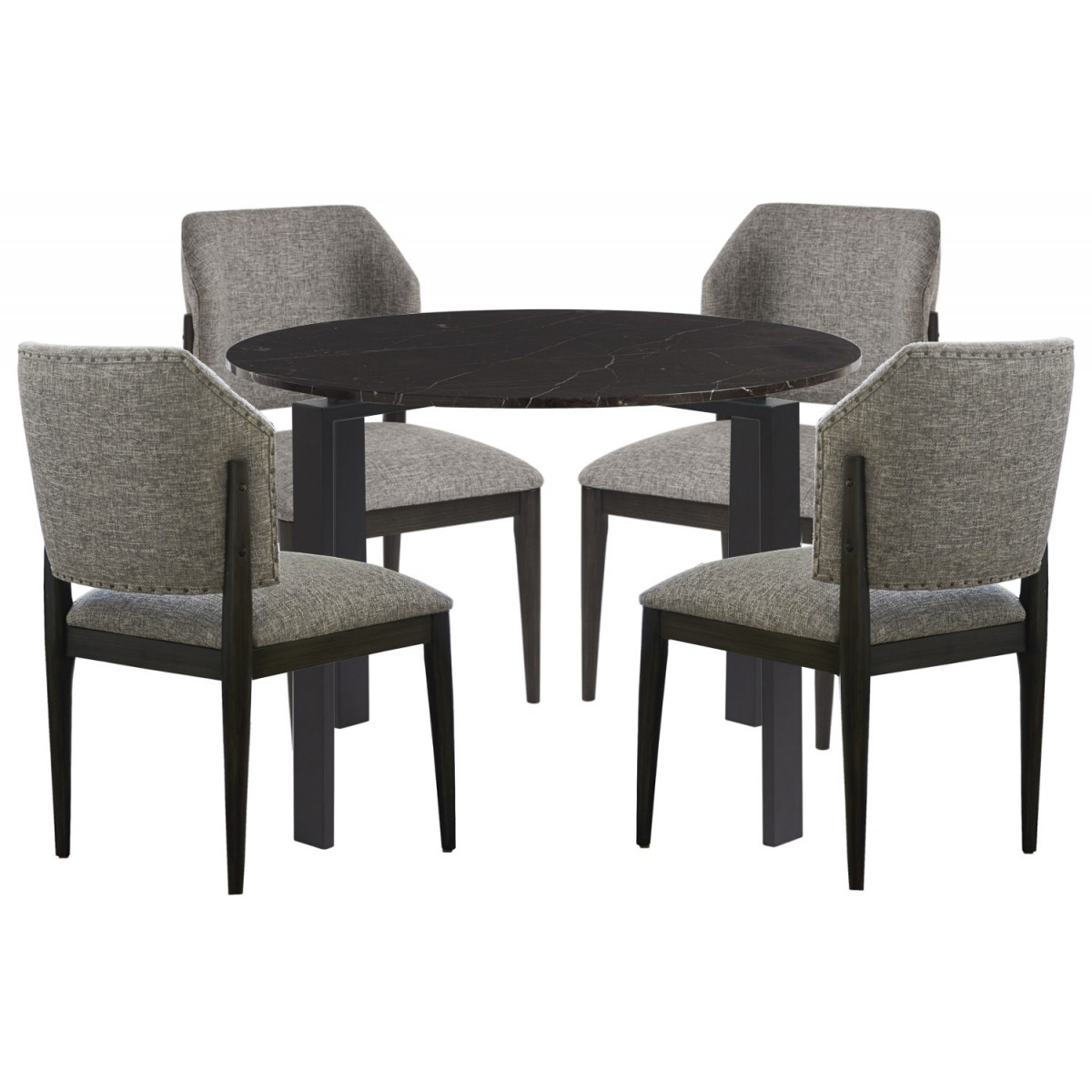 Universal Furniture Spaces Marshall 5Pc Dining Table Set Black Marble Top#736 Within Recent Chapman Marble Oval Dining Tables (View 17 of 25)