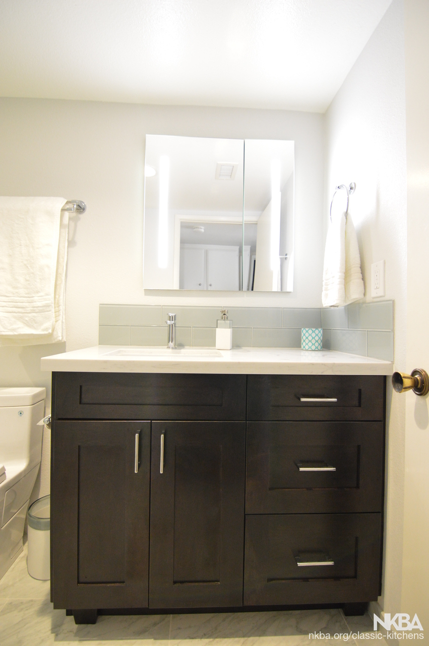 Upland, Ca – Guest Bathroom Remodel – Nkba For Most Up To Date Upland Marble Kitchen Islands (Image 24 of 25)