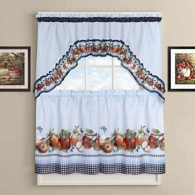 Urban Embroidered Lemon Tier And Valance Kitchen Curtain Set For Urban Embroidered Tier And Valance Kitchen Curtain Tier Sets (View 13 of 25)