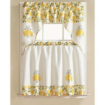 Urban Embroidered Lemon Tier And Valance Kitchen Curtain Set Inside Delicious Apples Kitchen Curtain Tier And Valance Sets (Image 22 of 25)