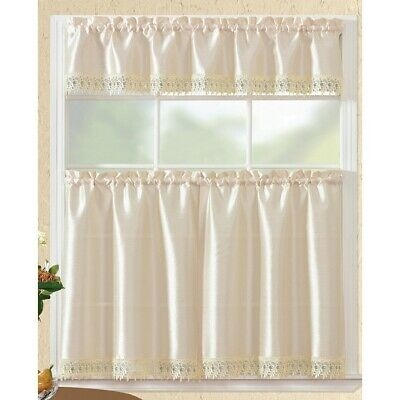 Urban Embroidered Lemon Tier And Valance Kitchen Curtain Set Pertaining To Urban Embroidered Tier And Valance Kitchen Curtain Tier Sets (View 17 of 25)