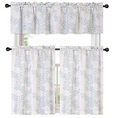 Urban Embroidered Lemon Tier And Valance Kitchen Curtain Set Within Urban Embroidered Tier And Valance Kitchen Curtain Tier Sets (View 10 of 25)
