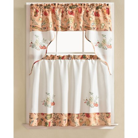 Urban Embroidered Vegetable Tier And Valance Kitchen Curtain With Grace Cinnabar 5 Piece Curtain Tier And Swag Sets (View 4 of 25)