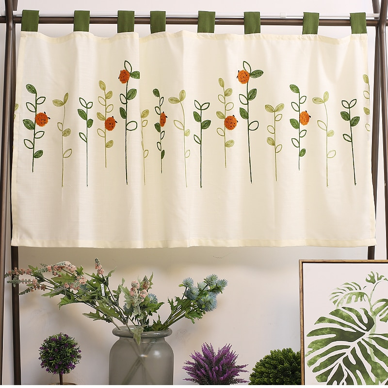 Featured Image of Embroidered Ladybugs Window Curtain Pieces