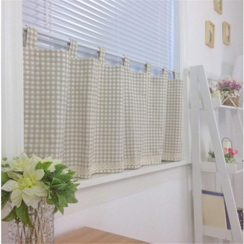 Ustide Cotton Linen Plaid Cafe Curtains Rod Pocket Kitchen For Rod Pocket Kitchen Tiers (View 25 of 25)
