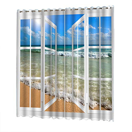 Uulike–Curtains 2 Pcs 132X245Cm Beach Tulle Blackout Room With Pastel Damask Printed Room Darkening Kitchen Tiers (View 21 of 25)