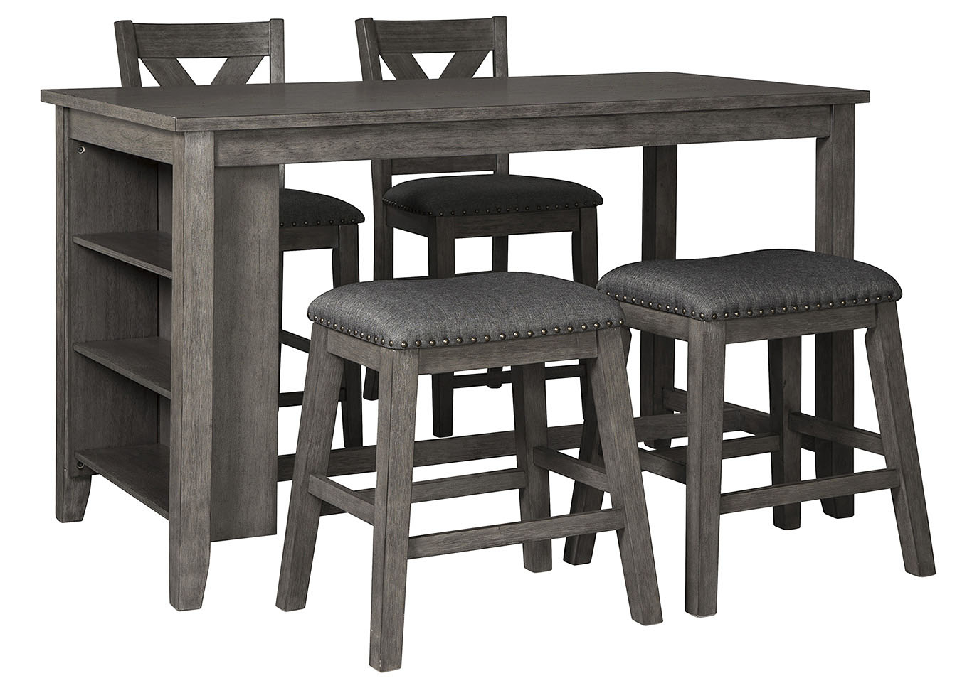 V. Watts Furniture Caitbrook Dark Gray Dining Set W/2 Stools Pertaining To Most Recent Gray Wash Livingston Extending Dining Tables (Photo 18 of 25)