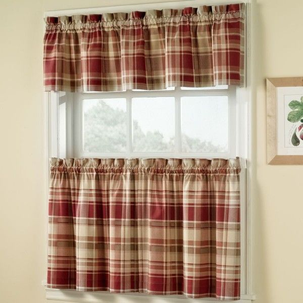 Vail Plaid Kitchen Curtains In 2019 | Kitchen Curtains For Cotton Blend Classic Checkered Decorative Window Curtains (Photo 21 of 25)