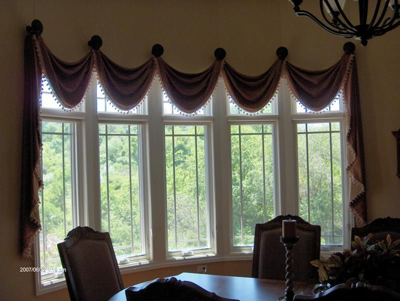 Valance On Medallions, Bay Window | W I N D O W S | Valance In Medallion Window Curtain Valances (View 3 of 25)