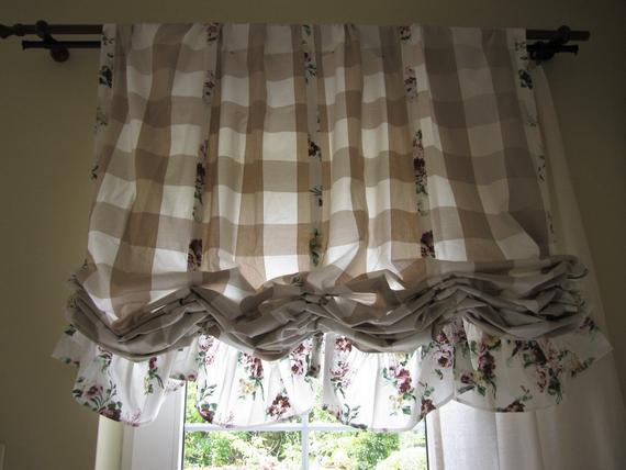 Valance Plaid Floral Ruffle Kitchen Curtain Balloon Valance Shabby Chic  Beach Cottage French Style Linen Rustic Austrian Curtain Panels Cafe Throughout Bermuda Ruffle Kitchen Curtain Tier Sets (Photo 6 of 25)