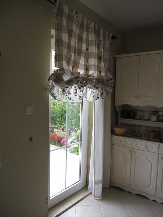 Valance Plaid Floral Ruffle Kitchen Curtain Balloon Valance Shabby Chic  Beach Cottage French Style Linen Rustic Austrian Curtain Panels Cafe Within Bermuda Ruffle Kitchen Curtain Tier Sets (Image 24 of 25)