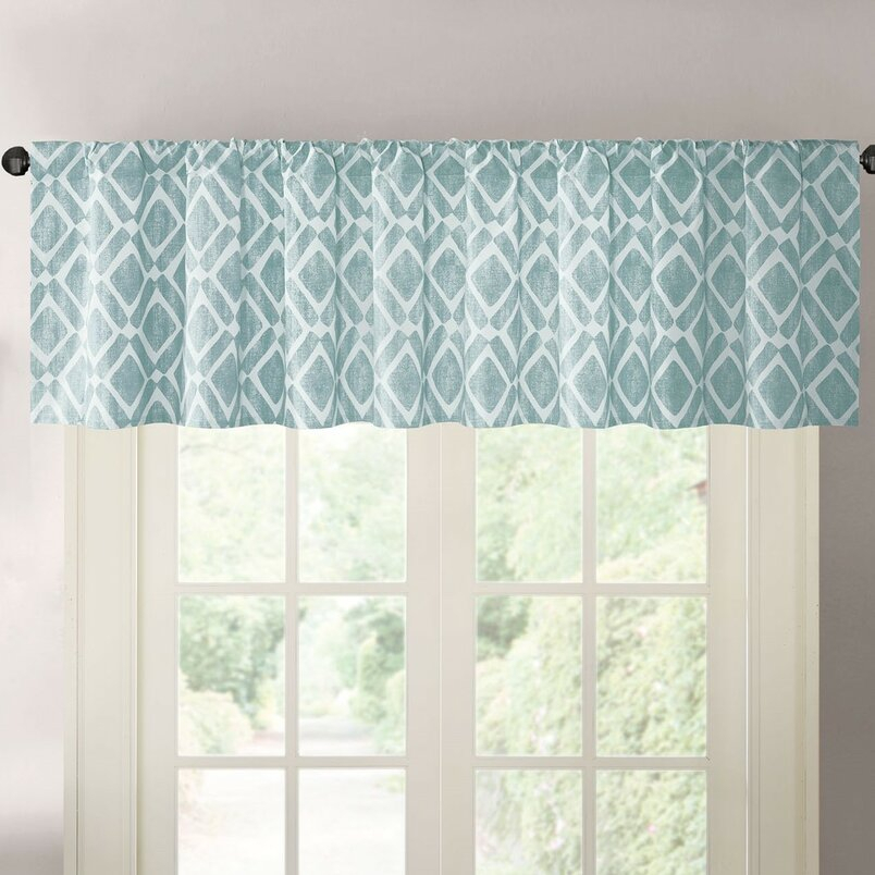 Valances & Kitchen Curtains | Joss & Main Within Class Blue Cotton Blend Macrame Trimmed Decorative Window Curtains (Photo 23 of 25)