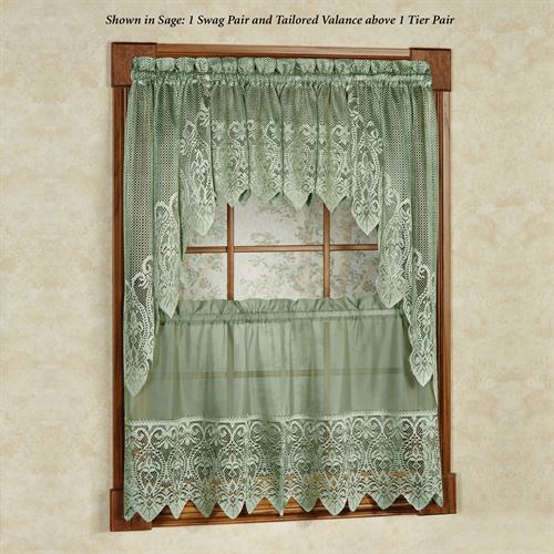 Valerie Macrame Sheer Tier Window Treatment With Regard To Traditional Tailored Tier And Swag Window Curtains Sets With Ornate Flower Garden Print (View 10 of 25)