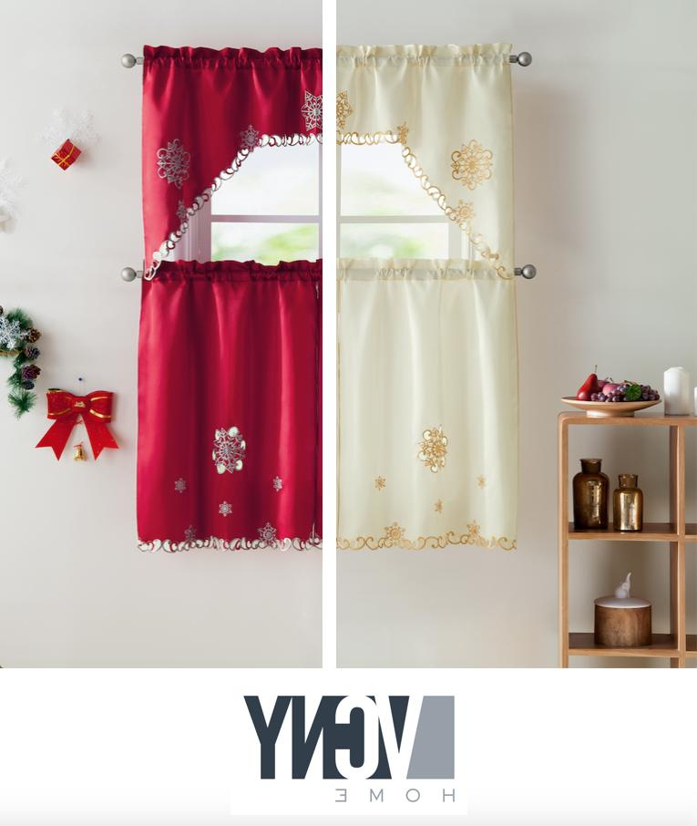 Vcny Home Christmas Embroidered Kitchen With Embroidered Floral 5 Piece Kitchen Curtain Sets (View 24 of 25)