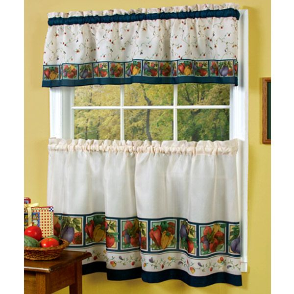 Vegetable Themed Kitchen Curtains – Veggies Kitchen Curtain With Chateau Wines Cottage Kitchen Curtain Tier And Valance Sets (View 11 of 25)