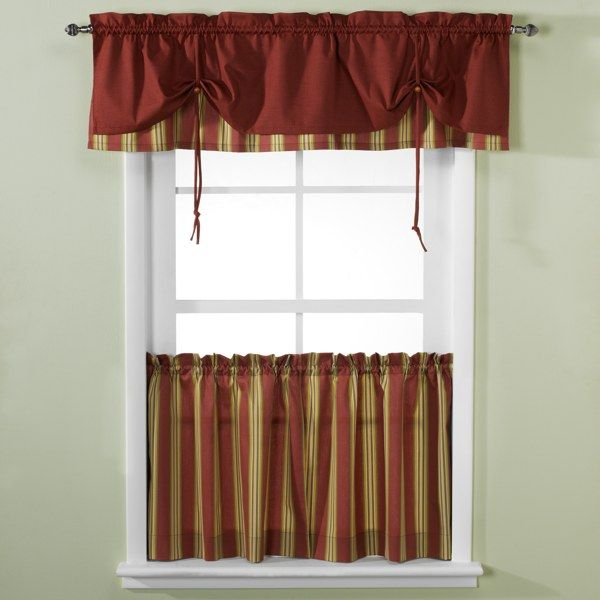 Versa Tie® Lisa Stripe Window Curtain Tiers And Valance In Grace Cinnabar 5 Piece Curtain Tier And Swag Sets (Photo 5 of 25)