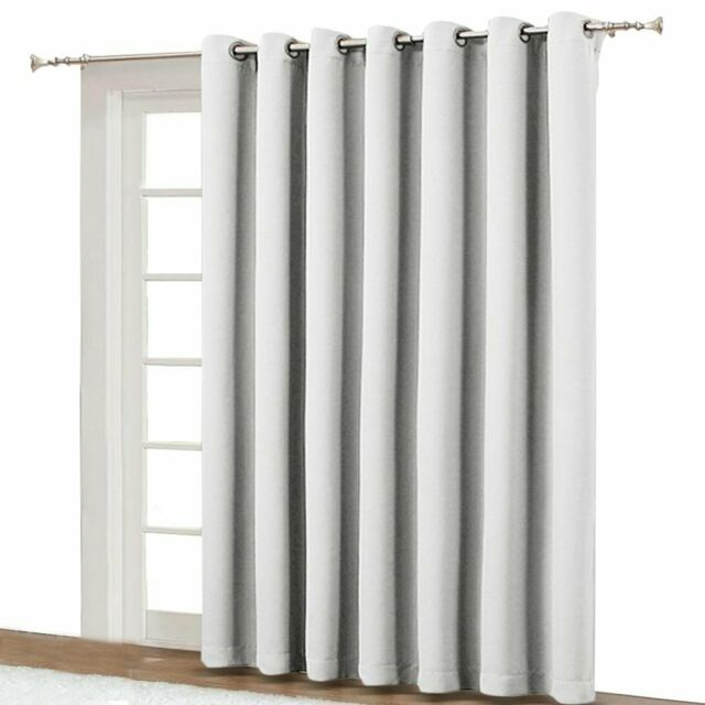 Vertical Blinds For Sling Door Window – Silver Grommet Top Blackout Curtains Inside Silver Vertical Ruffled Waterfall Valance And Curtain Tiers (View 17 of 25)