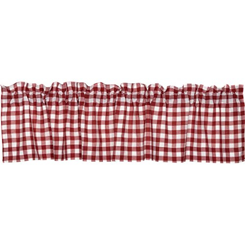 "Vhc Brands Classic Country Farmhouse Kitchen Window Curtains Buffalo Check Red Valance, 16"" X 72"" With Regard To Cumberland Tier Pair Rod Pocket Cotton Buffalo Check Kitchen Curtains (View 25 of 25)"