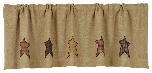 Vhc Brands Primitive Kitchen Window Curtains Stratton Tan Burlap Applique Star V Throughout Primitive Kitchen Curtains (View 12 of 25)