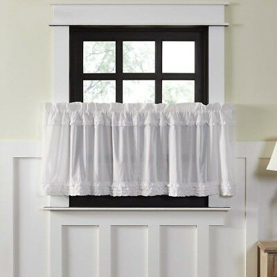 Vhc Brands White Ruched Ruffle Sheer Cambric Cotton In Rod Pocket Cotton Solid Color Ruched Ruffle Kitchen Curtains (View 13 of 25)
