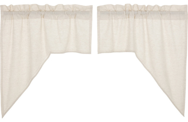 Vhc Farmhouse French Country Curtains Simple Life Flax Solid Swag Pair Intended For Simple Life Flax Tier Pairs (View 5 of 25)