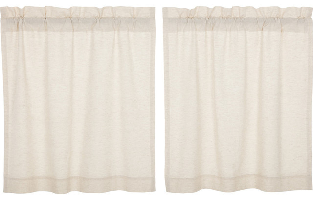Vhc Farmhouse French Country Curtains Simple Life Flax Solid Tier Pair Inside Farmhouse Stripe Kitchen Tier Pairs (Image 25 of 25)