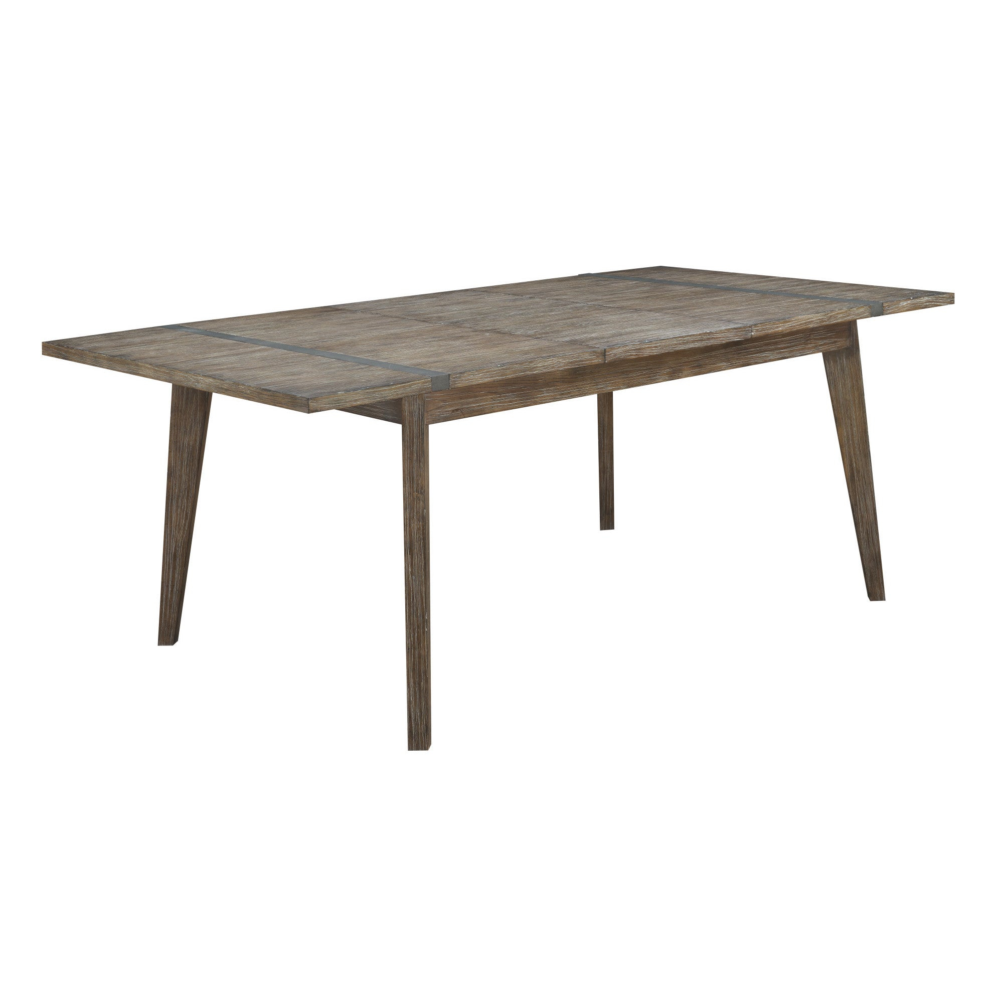 "Viewpoint Driftwood Gray 60"" Dining Table With Self Storing Butterfly  Extension Leaf And Metal Detailing – Grey Pertaining To Newest Gray Wash Benchwright Dining Tables (Photo 16 of 25)"