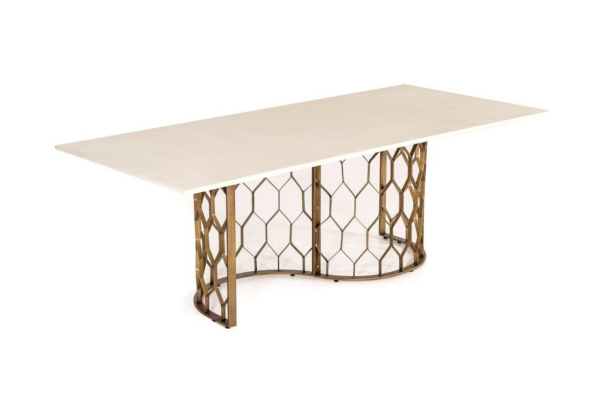 Vig Hk – Faye Dining Table White Concrete/antique Brass In White, Antique  Brass, Metal With Regard To Best And Newest Faye Dining Tables (Photo 2 of 25)