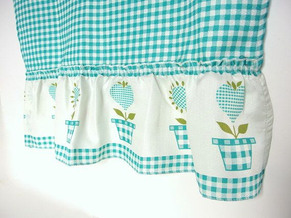 Vintage Aqua / Turquoise Gingham Checked Cafe Curtains And With Regard To Spring Daisy Tiered Curtain 3 Piece Sets (Image 25 of 25)