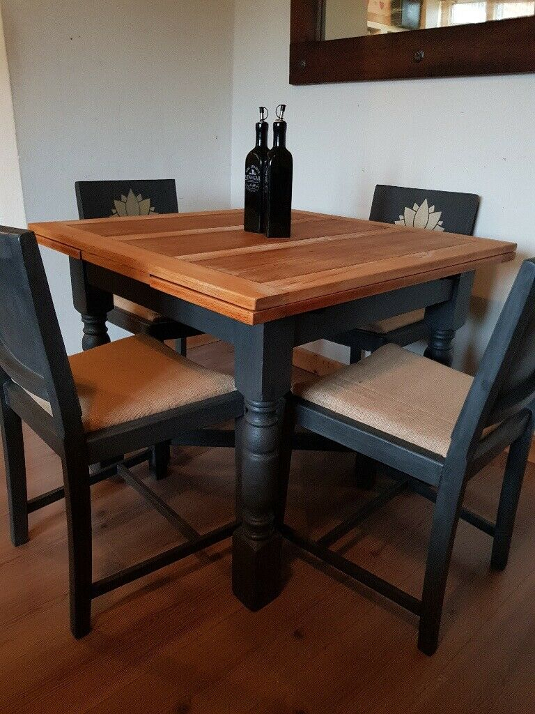Vintage Draw Leaf Extending Dining Table + 4 Lotus Chairs. Rustic Charcoal Shabby Chic (View 22 of 25)