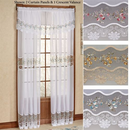 Vintage Embroidered Macrame Semi Sheer Window Treatment With Class Blue Cotton Blend Macrame Trimmed Decorative Window Curtains (View 6 of 25)
