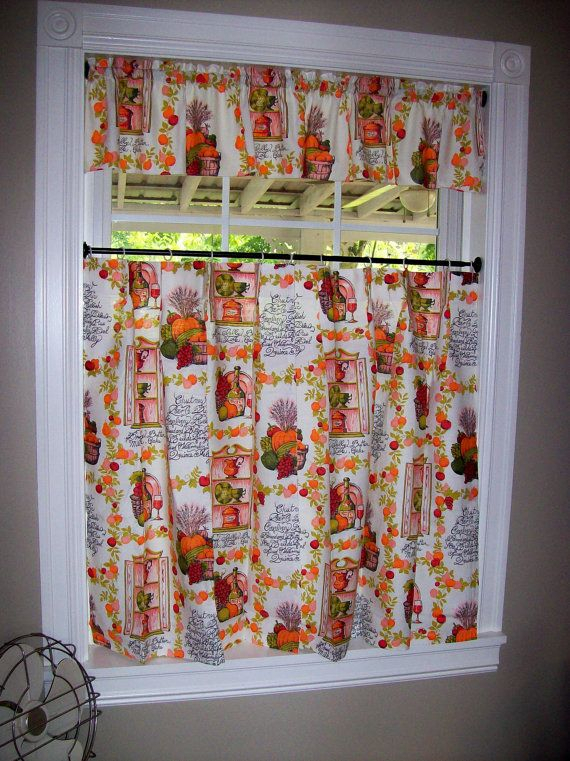 Vintage Kitchen Curtains Set Tiers Cafe Valance Pinch Pertaining To Apple Orchard Printed Kitchen Tier Sets (Photo 3 of 25)
