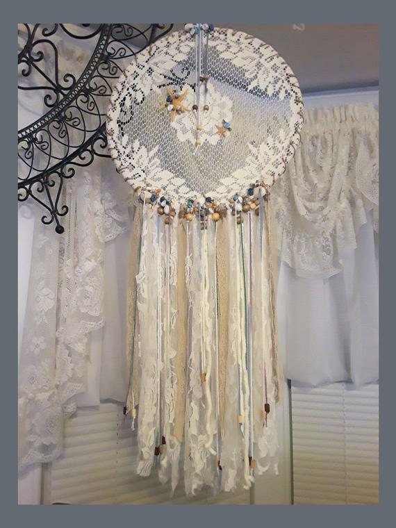 Vintage Lace Doily Dream Catcher, Creamy White With Sea Shells & Starfish,  Lace Streamers, Wooden Beads, Beach Theme With Regard To Vintage Sea Shore All Over Printed Window Curtains (Image 25 of 25)