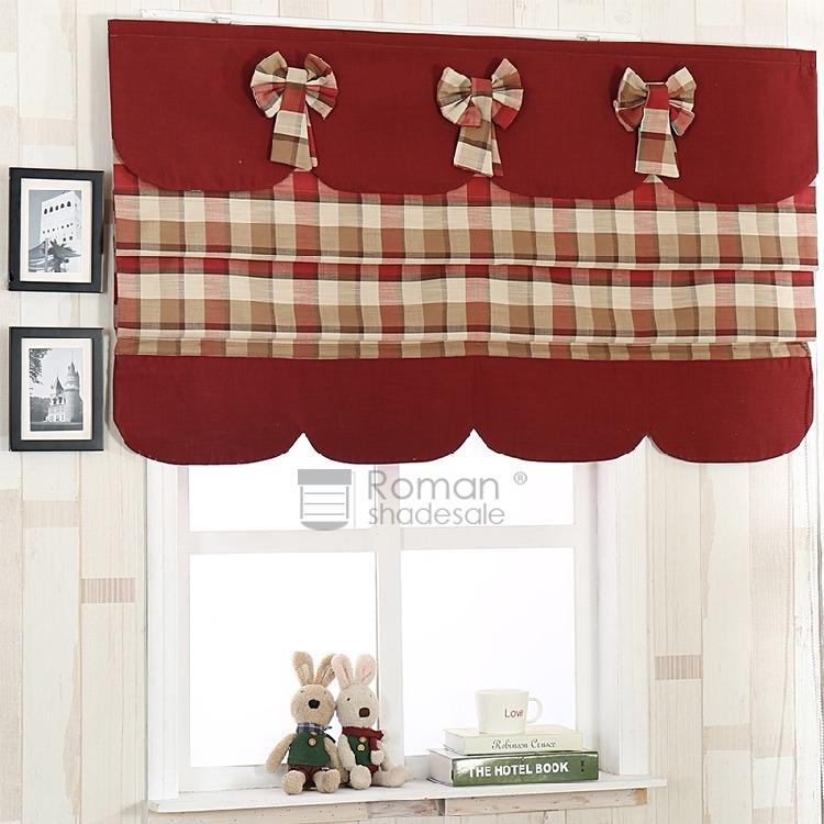 Vintage Londown Plaid Burgundy Roman Shade Valance With Burgundy Cotton Blend Classic Checkered Decorative Window Curtains (Photo 8 of 25)