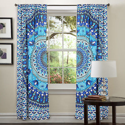 Wall Tapestry New Set Mandala Indian Decorative Door Window Curtain Blinds Piece | Ebay Throughout Cotton Blend Classic Checkered Decorative Window Curtains (View 11 of 25)