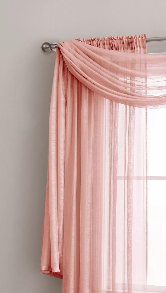 Warm Home Designs Premium Sheer Coral Pink Window Scarves Or Inside Rod Pocket Cotton Solid Color Ruched Ruffle Kitchen Curtains (View 17 of 25)