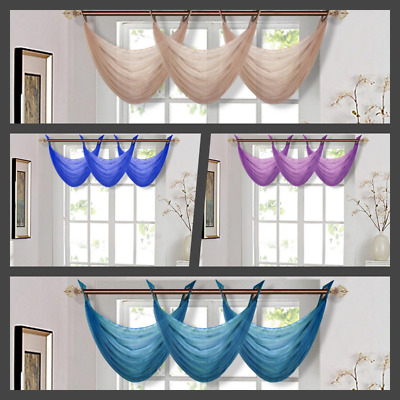 Waterfall Voile Valance Swag Home Decor Bronze Grommet Curtain Solid Colors  K36 | Ebay Throughout Luxury Light Filtering Straight Curtain Valances (Image 21 of 25)
