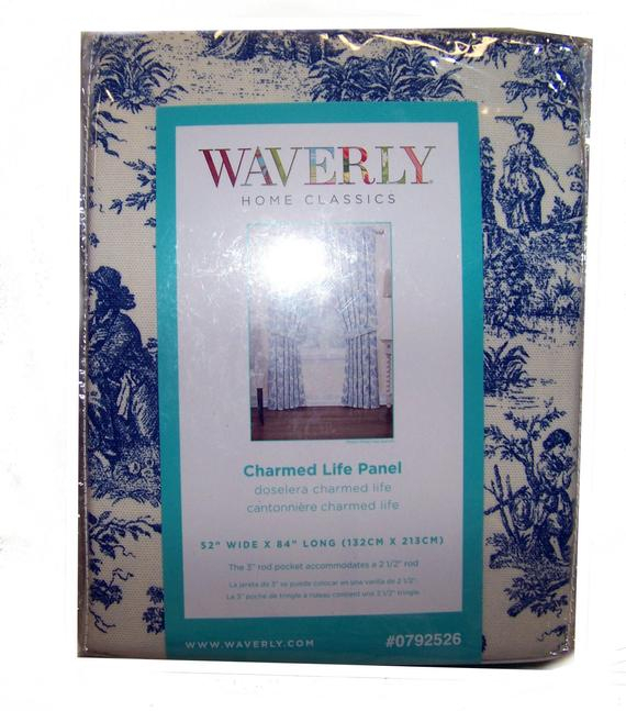 Waverly Blue Charmed Life Toile Curtain Panel With Tieback New Discontinued Pattern With Regard To Waverly Felicite Curtain Tiers (View 22 of 25)