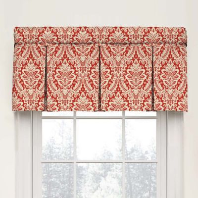 Waverly Donnington Damask Box Pleat Cotton Valance In With Regard To Pleated Curtain Tiers (View 24 of 25)