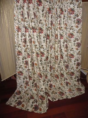 Waverly Felicite Creme Red Green Cinnamon Floral (Pair) Fabric Panels 46 X 80 | Ebay Regarding Waverly Felicite Curtain Tiers (View 20 of 25)