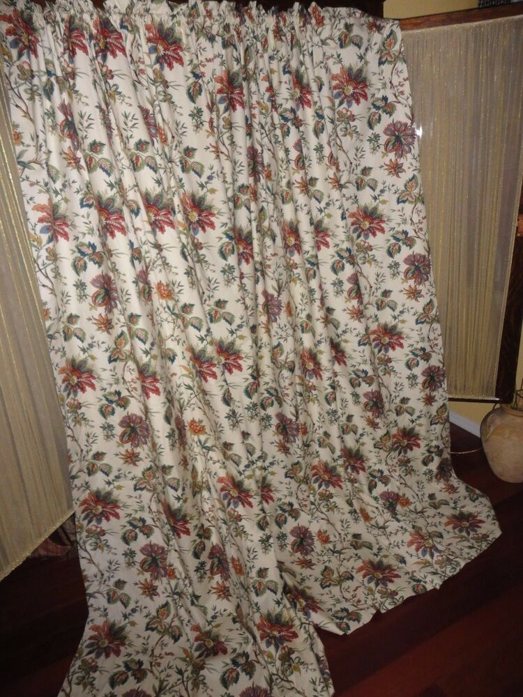 Waverly Felicite Creme Red Green Cinnamon Floral (Pair With Waverly Felicite Curtain Tiers (View 11 of 25)