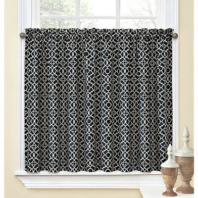 Waverly Kitchen Bathroom Tiers Panels (2) 60X24 Lovely Lattice Black Cream | Ebay Pertaining To Waverly Felicite Curtain Tiers (View 7 of 25)