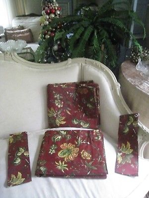 "Waverly ~(Pair) Floral ""felicite"" Curtain Panels W/ Tie Backs 